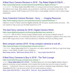 Google Search of Best Sony Camera's